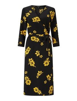 Ochre Floral Print Midi Wrap Dress by Miss Selfridge