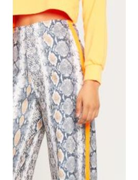 Tall Snake Print Neon Orange Stripe Trousers  by Prettylittlething