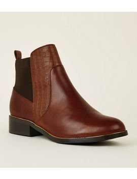 Tan Leather Metal Trim Chelsea Boots by New Look
