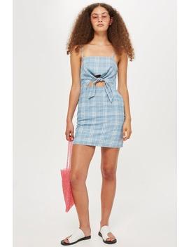 Checked Denim Mini Dress by Topshop