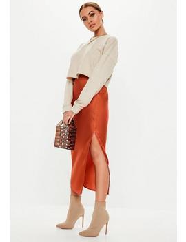Rust Satin Slip Midi Skirt by Missguided