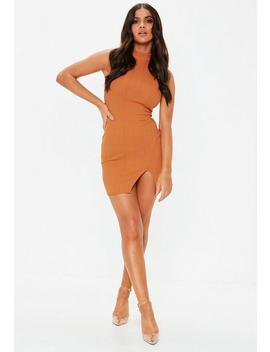 Orange High Neck Bandage Mini Dress by Missguided