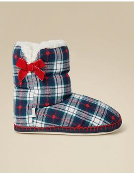 Layla Check Slipper Boots by Fat Face