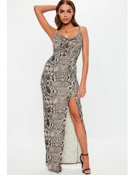 Gray Snake Print Thigh Split Cowl Neck Maxi Dress by Missguided