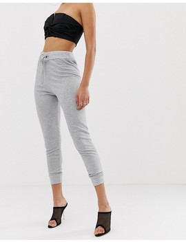 Boohoo Tie Waist Joggers In Grey by Boohoo