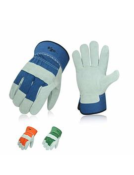 Vgo 3 Pairs Cow Split Leather Men's Work Gloves With Safety Cuff (Size L,Blue+Orange+Green,Cb3501) by Vgo...