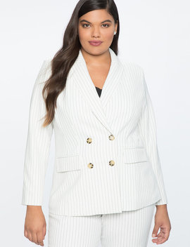 Pinstripe Double Breasted Blazer by Eloquii
