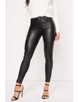 Rosie Black Pu Jeans by Misspap