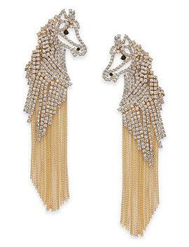 Gold Tone Pavé Horse Fringe Drop Earrings by Kate Spade New York