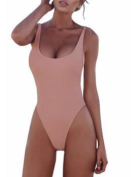 Prettygarden Women's One Piece Halter Straps U Neck Backness Swimsuits Monikini Bathing Suit by Prettygarden