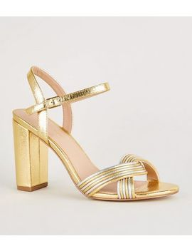 Gold Shimmer Linked Strap Block Heels by New Look