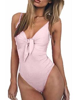 Esonlar Women's Tie Up Knot Front V Neck One Piece Swimwear Bathing Suit by Esonlar