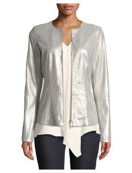 Maris Metallic Weave Leather Jacket by Neiman Marcus