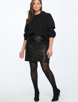 Quilted Faux Leather Skirt With Studs by Eloquii