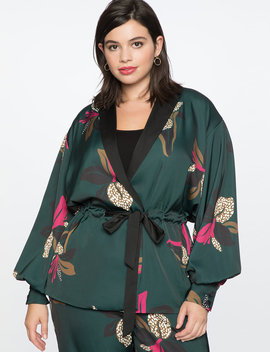 Puff Sleeve Jacket With Tie by Eloquii