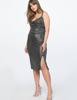 Cowl Neck Metallic Dress by Eloquii