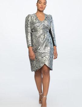 V Neck Sharp Shoulder Dress by Eloquii