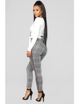 Nancy Plaid Pants   Grey by Fashion Nova