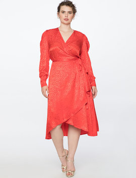 Satin Wrap Dress With Puff Sleeve by Eloquii