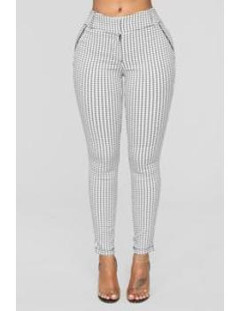 Harley Striped Pants   White/Black by Fashion Nova