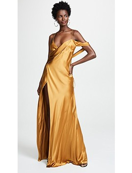 Strappy Cowl Neck Gown by Michelle Mason