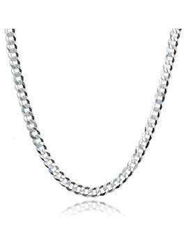 Sterling Silver Italian 2.5mm Diamond Cut Cuban Curb Link Chain Necklace For Men Women by Hoops & Loops