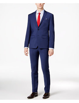 Men's Skinny Fit Stretch Wrinkle Resistant Blue Suit Separates, Created For Macy's by Bar Iii