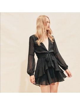 For Love & Lemon Tarta Long Sleeve Mini Dress Noir   Boutique by For Love And Lemons
