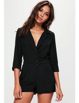 Black Wrap Belted Blazer Playsuit by Missguided
