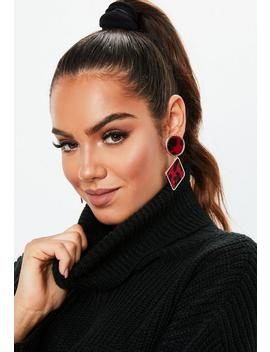 Red Leopard Dropped Earrings by Missguided