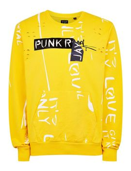 Punk Royal Yellow Repeat Print Sweatshirt by Topman
