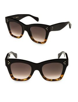 Havana Rectangular Cat Eye Sunglasses by Céline