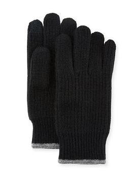 Ribbed Knit Gloves With Touch Tech Finger Pads by Neiman Marcus