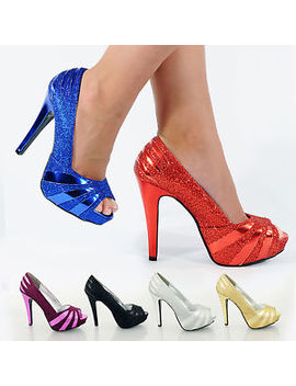 Womens Ladies High Stiletto Heel Glitter Platform Peep Toe Party Shoes Size 3 8 by Ebay Seller