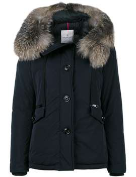 Fox Fur Trimmed Short Fitted Parka Jacket by Moncler