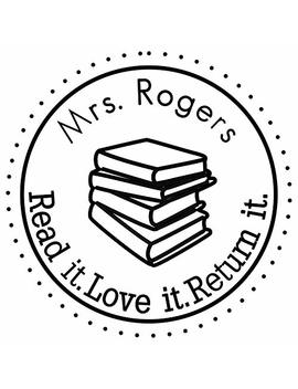 "Custom Rubber Stamps Self Inking Stamps Personalized Teacher Library Book Stamps 1 5/8""Diameter by Amlion"