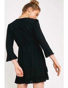 Uo Black Frill Wrap Dress by Urban Outfitters
