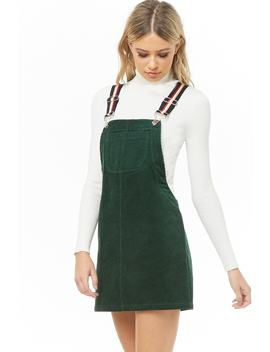 Striped Strap Corduroy Overalls by Forever 21