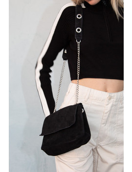 Black And Silver Suede Purse by Brandy Melville
