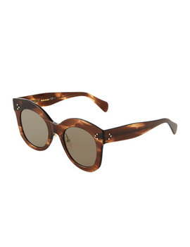 Oversized Round Acetate Sunglasses by Celine
