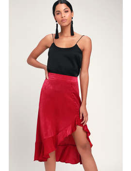 Festivity Berry Red Satin High Low Ruffled Midi Skirt by Lulus