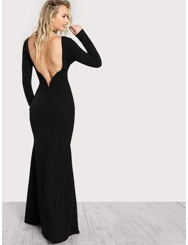 Long Sleeve Open Back Bodycon Maxi Dress by Shein