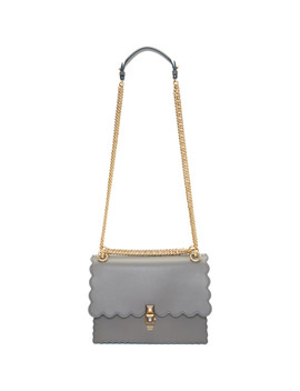 Grey Medium Scalloped 'kan I' Bag by Fendi