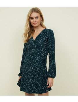 Green Spot Print Soft Touch Wrap Dress by New Look