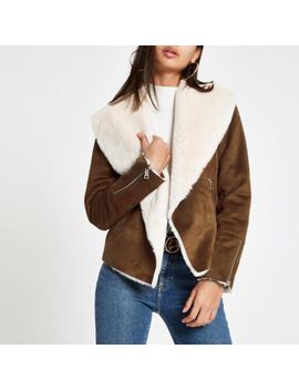 Brown Fallaway Faux Suede Jacket by River Island