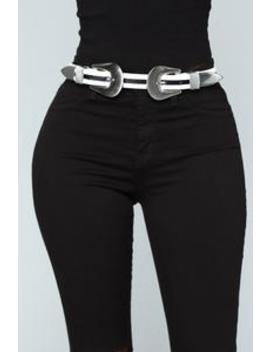 Trouble Make It Double Belt   Black/White by Fashion Nova