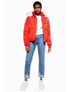 Red Faux Fur Lined Quilted Puffer Jacket by Topshop