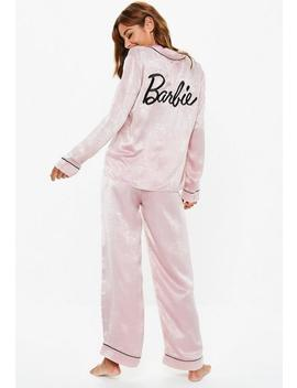 Barbie X Missguided Pink Satin Pyjama Set by Missguided