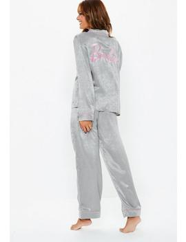 Barbie X Missguided Grey Satin Pyjama Set by Missguided