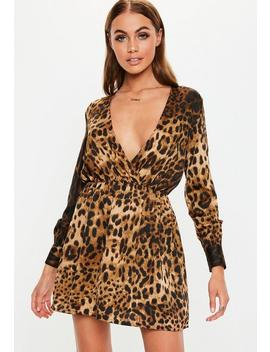 Petite Brown Leopard Print Long Sleeve Satin Mini Dress by Missguided